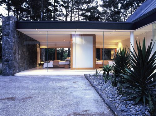 Basalt stone and white walls with natural accents