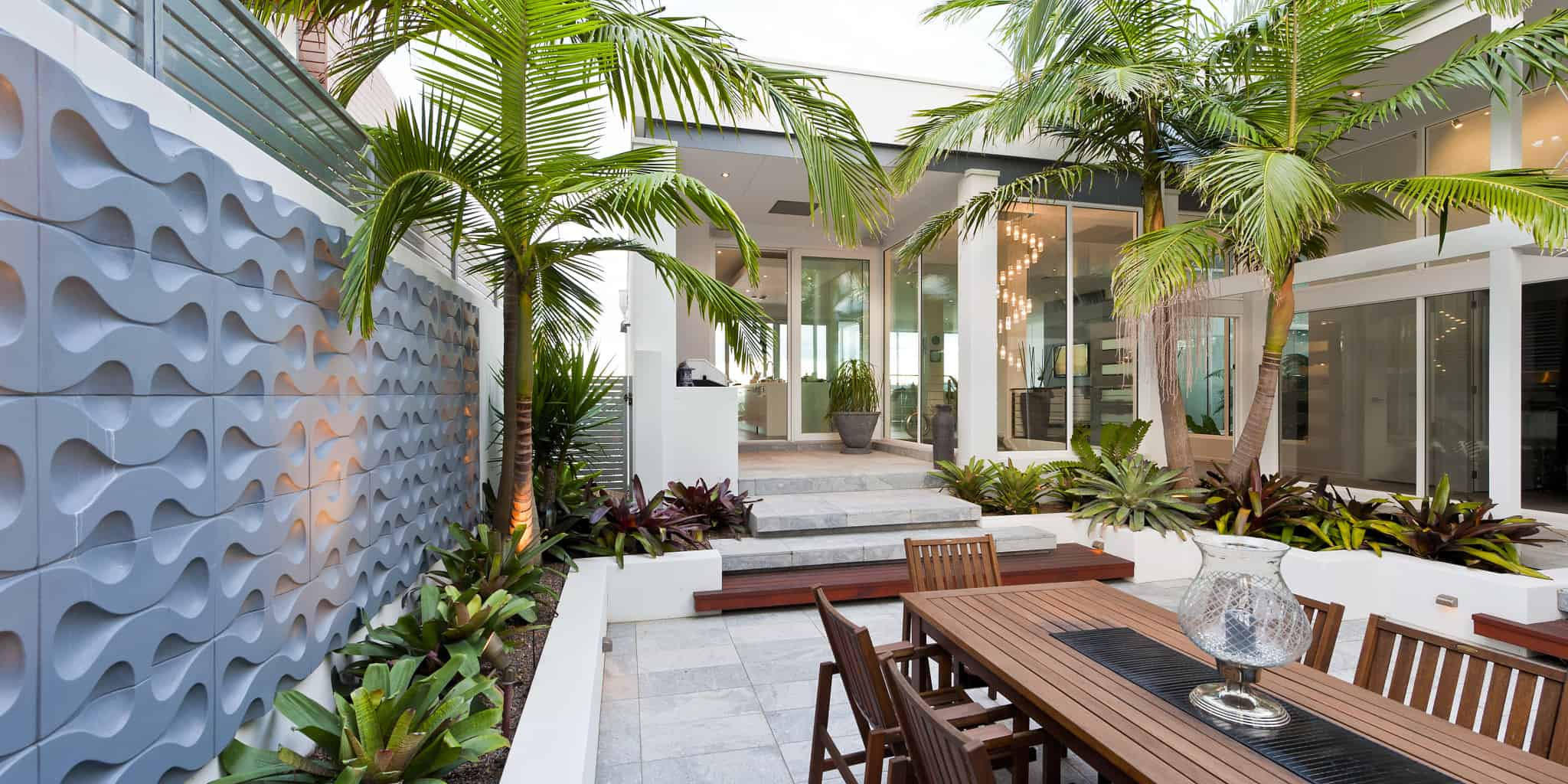 Stunning Sunken Courtyard Design For Coastal Oasis
