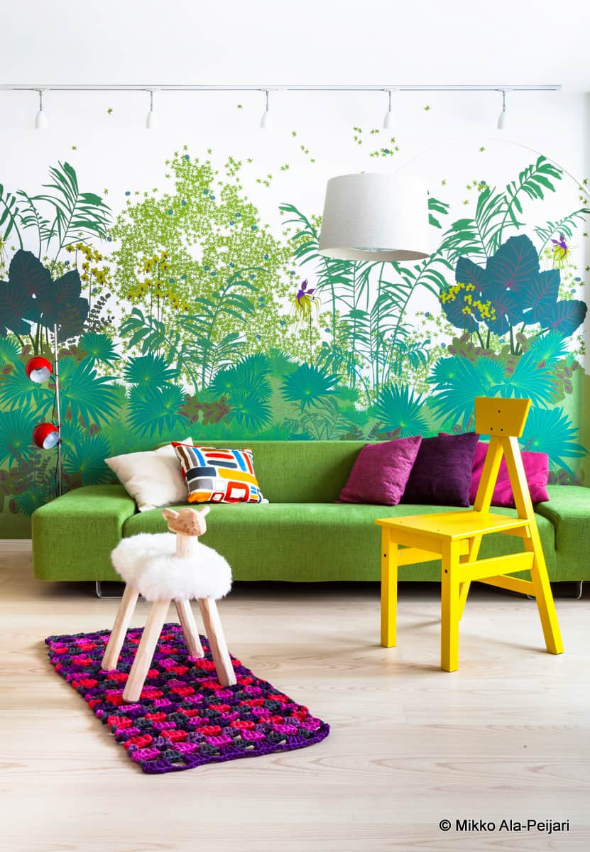 A vibrant and colourful interior design for Finnish penthouse apartment