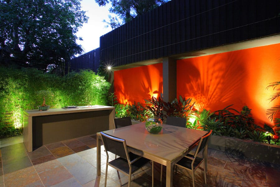 A bold feature colour for Birchgrove courtyard design