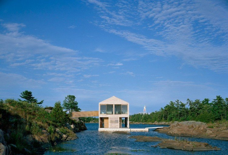Floating house over Lake Huron