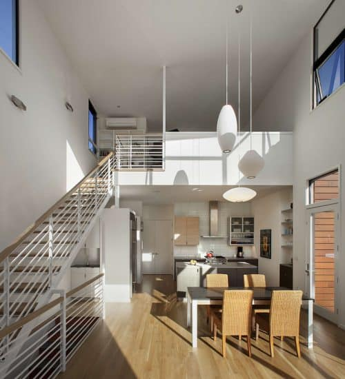 Funky townhouse design with splashes of red