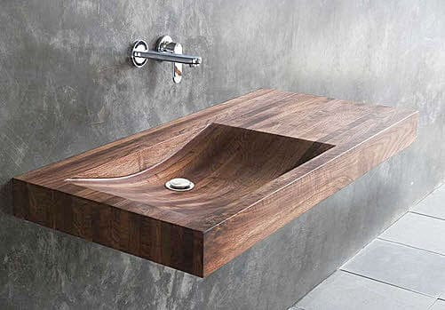 Wooden wall-hung washbasin